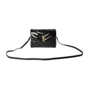 SAINT LAURENT PATENT MINI BAG BLACK