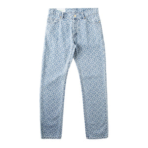 CASABLANCA MEN'S RTW PRINTED DENIM PANT BLUE