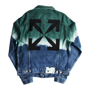 OFF-WHITE PIVOT DEGRADE SLIM DENIM JACKET GREEN