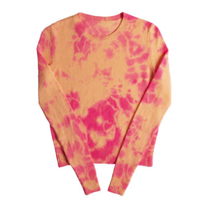 THE ELDER STATESMAN HOT TRANQUILITY CROP CREW SWEATER MULTI