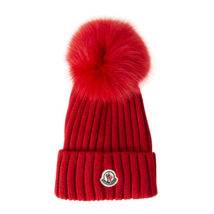 MONCLER RIBBED HAT RED