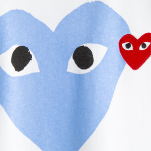 COMME DES GARCONS PLAY T-SHIRT WITH PURPLE HEART AND SMALL RED HEART WHITE