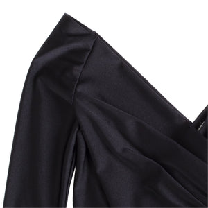 BALENCIAGA WRAP-FRONT V-NECK BLACK