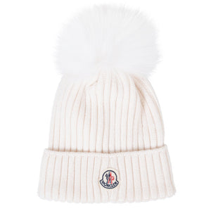 MONCLER RIBBED HAT WHITE