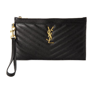 SAINT LAURENT WRISTLET POUCH BLACK