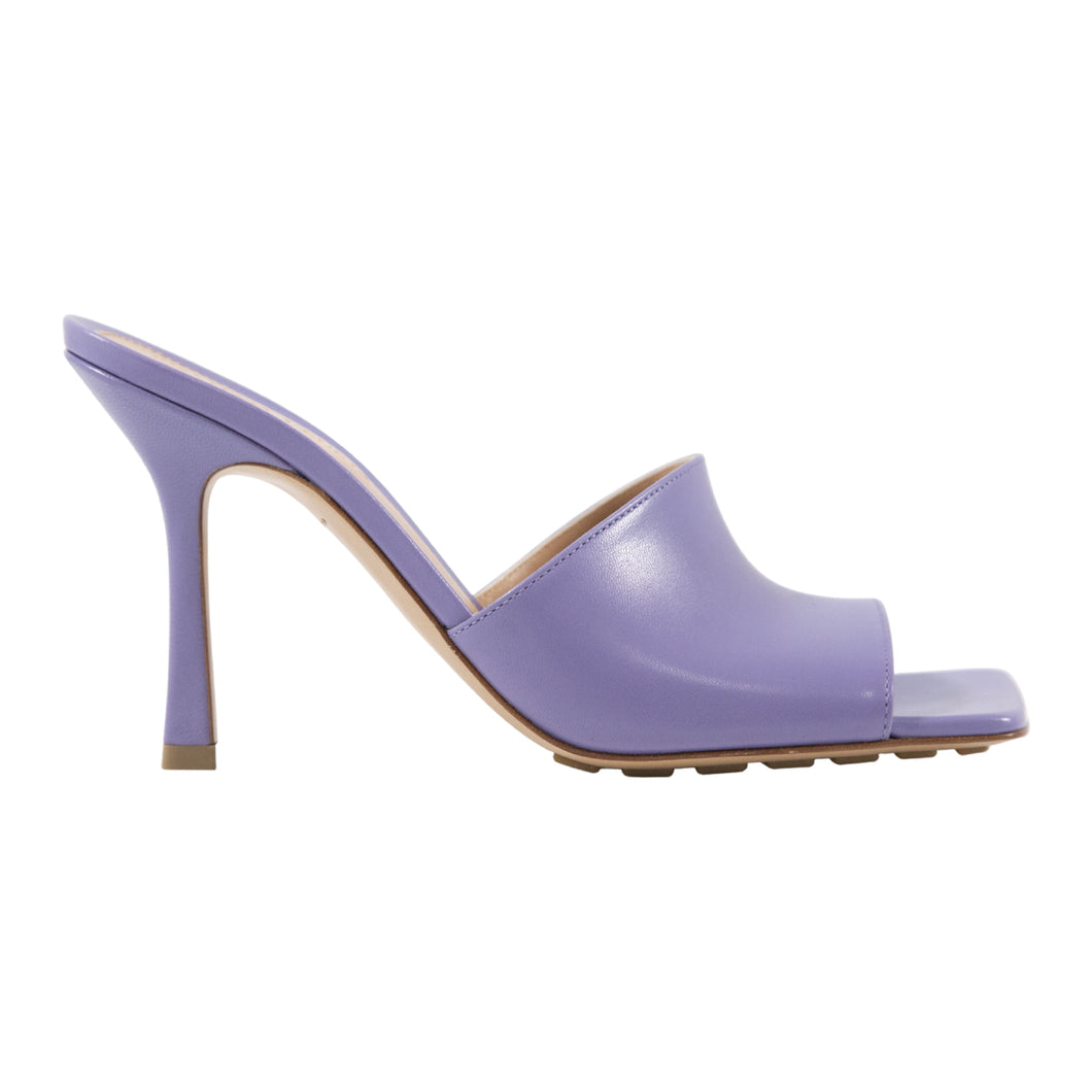 BOTTEGA VENETA STRETCH SANDALS MULES W- ELONGATED SQUARE SOLE PURPLE