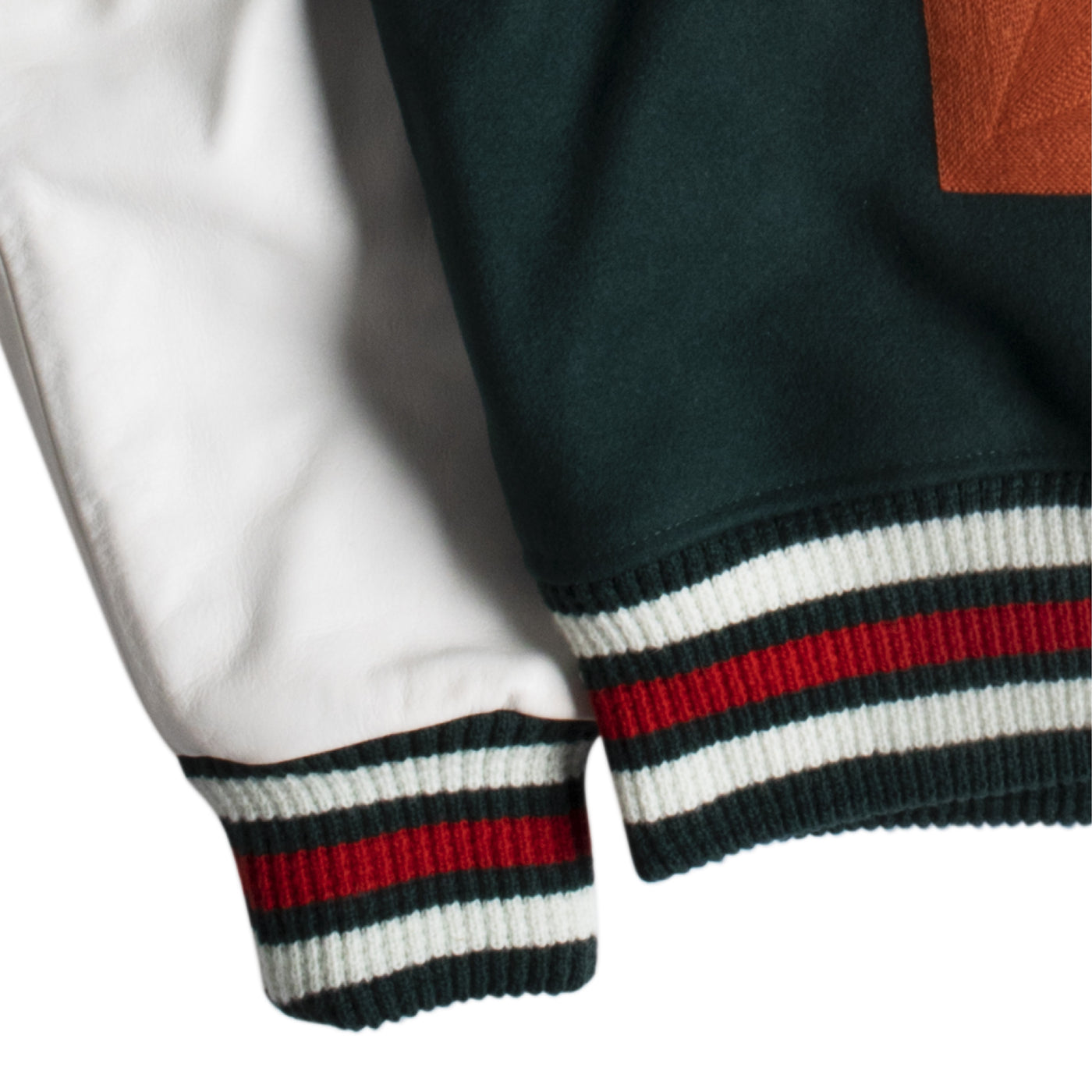 Load image into Gallery viewer, OFF-WHITE BARREL LEATHER VARSITY JACKET GREEN