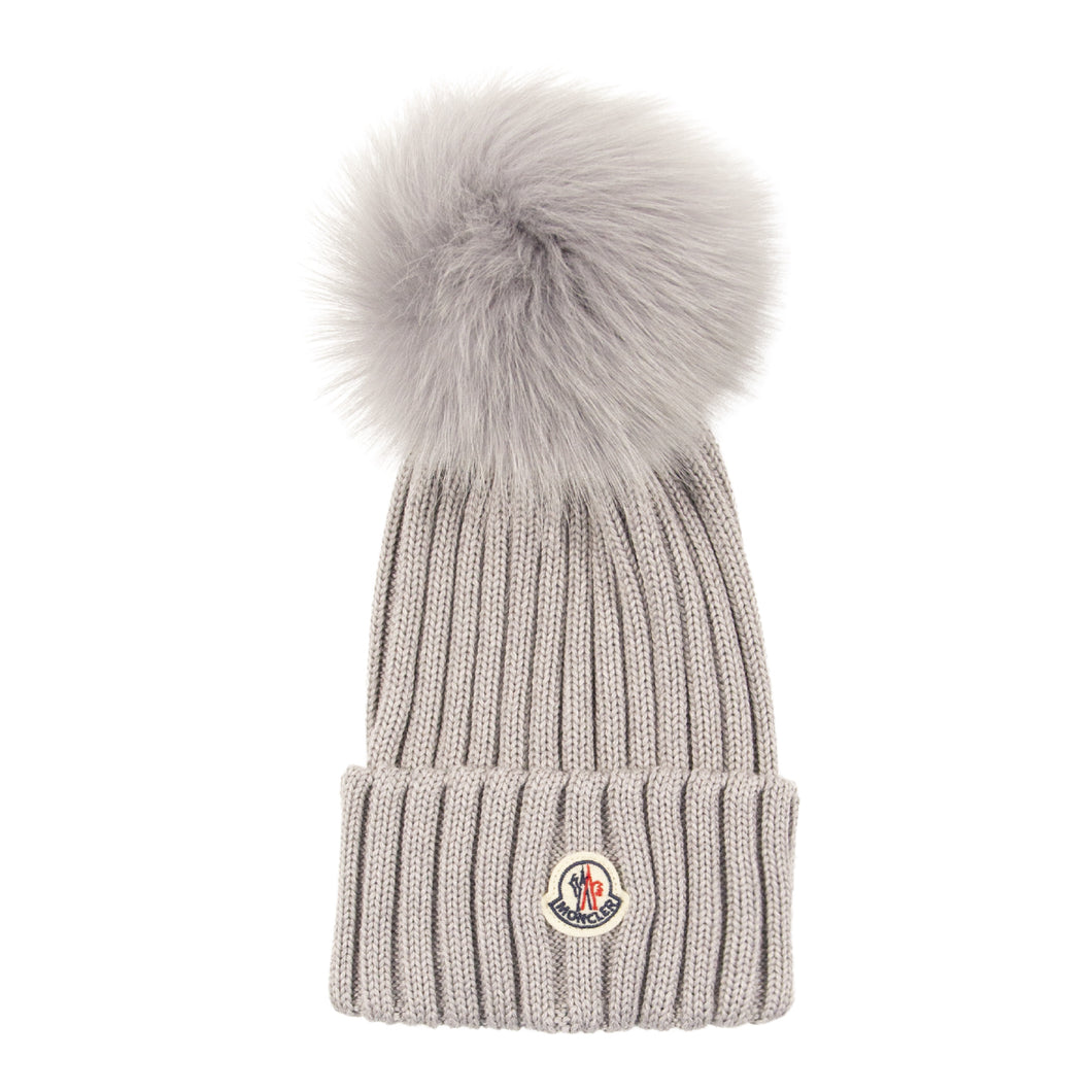 MONCLER RIBBED HAT GREY