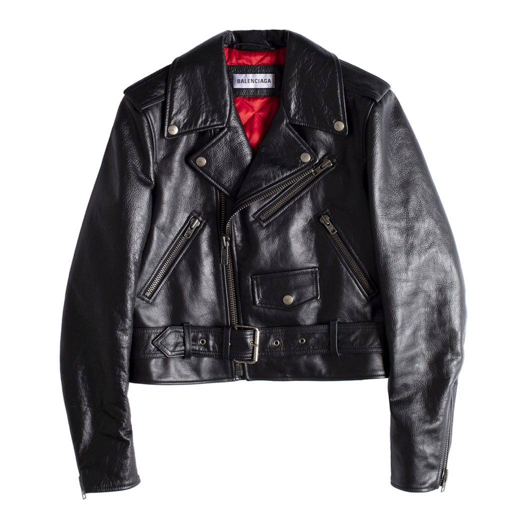 BALENCIAGA FITTED BIKER JACKET BLACK