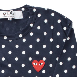 COMME DES GARCONS PLAY LONG-SLEEVE DOTTED T-SHIRT NAVY