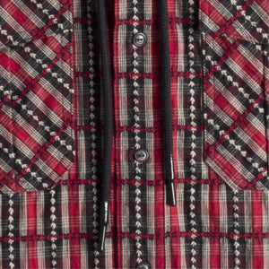 OFF-WHITE FLANNEL CHECK HOODIE SHIRT RED