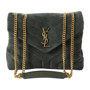 SAINT LAURENT SUEDE SMALL CHAIN BAG GREEN