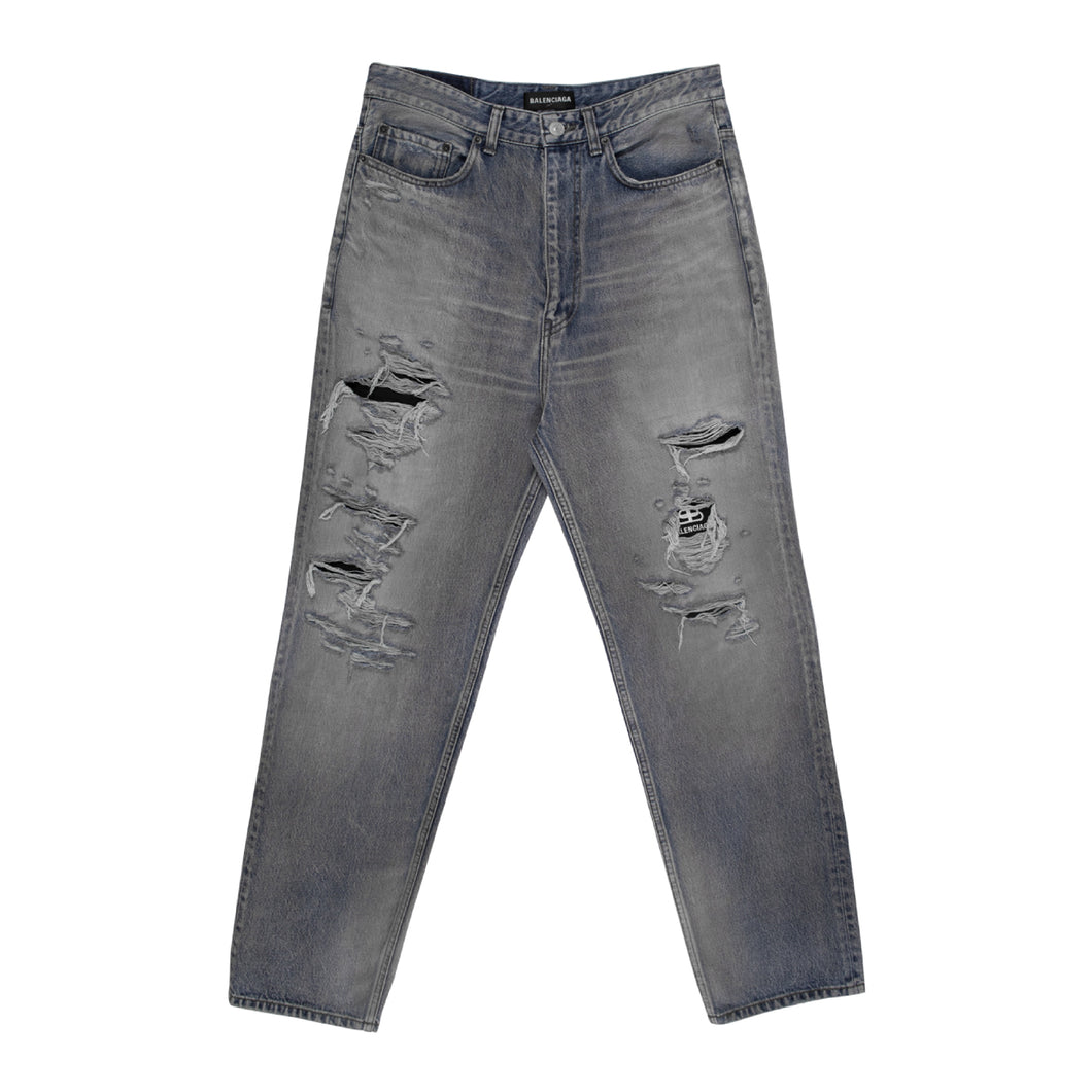 BALENCIAGA DISTRESSED JEANS BLUE