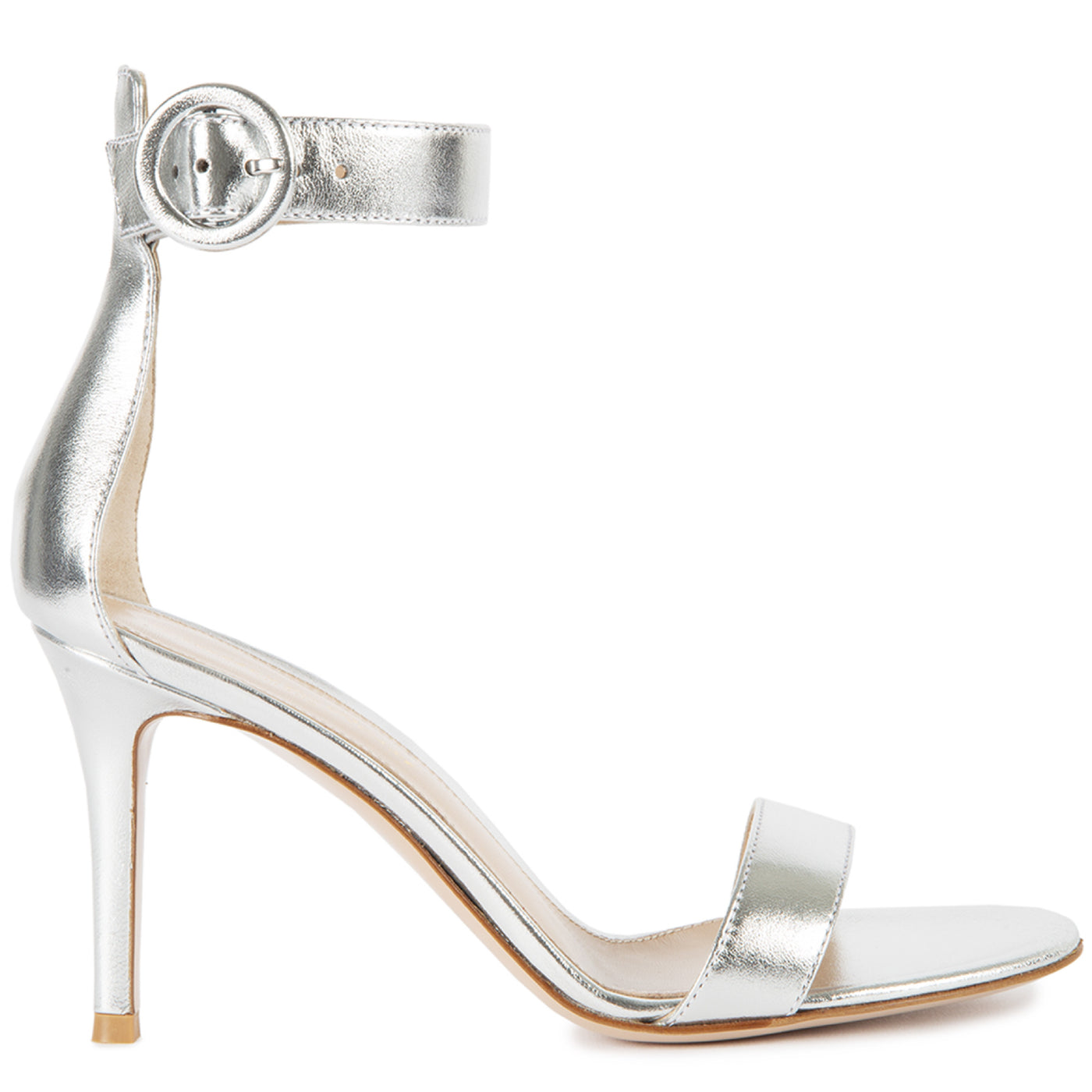 Load image into Gallery viewer, GIANVITO ROSSI NAPPA SILK STRAP SANDALS SILVER