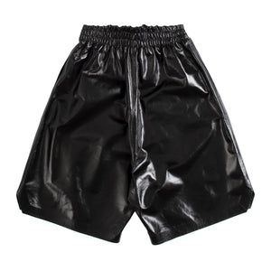 BOTTEGA VENETA LEATHER SHORTS BLACK