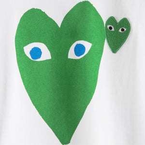 COMME DES GARCONS PLAY T-SHIRT WITH GREEN HEART WHITE