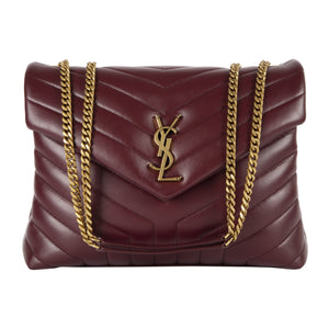 "SAINT LAURENT ""LOULOU"" MEDIUM CHAIN BAG RED"