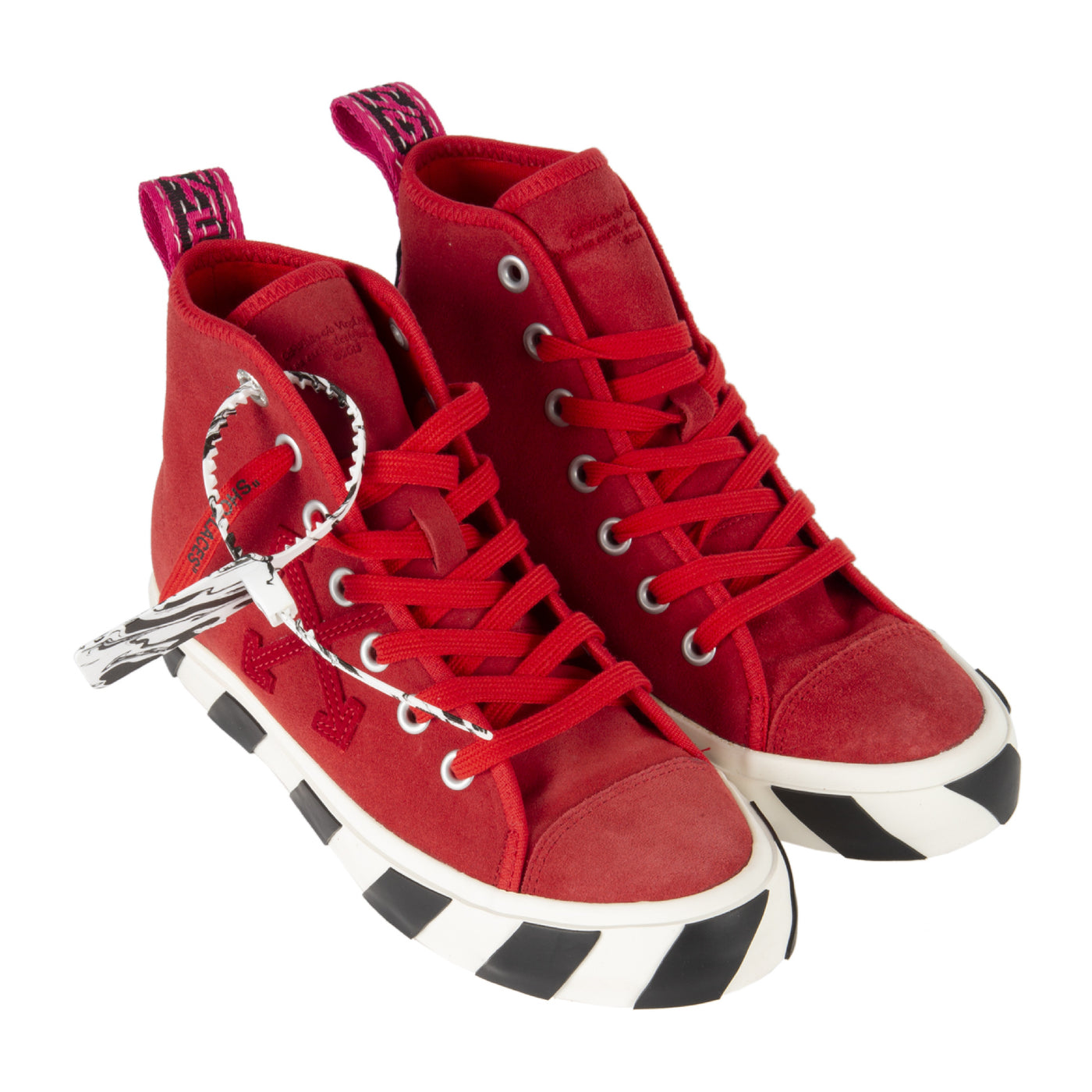 Load image into Gallery viewer, OFF-WHITE MID TOP VULCANIZED SNEAKER RED