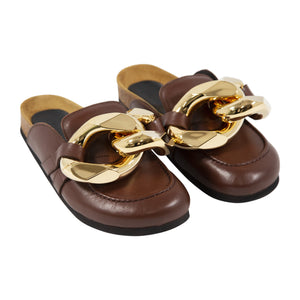 JW ANDERSON BACKLESS CHAIN LOAFERS BROWN