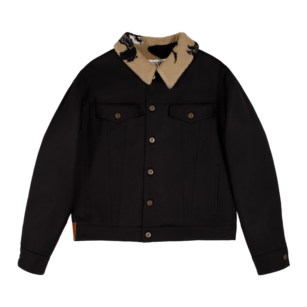 LOEWE FLEECE-TRIMMED JACKET BLACK