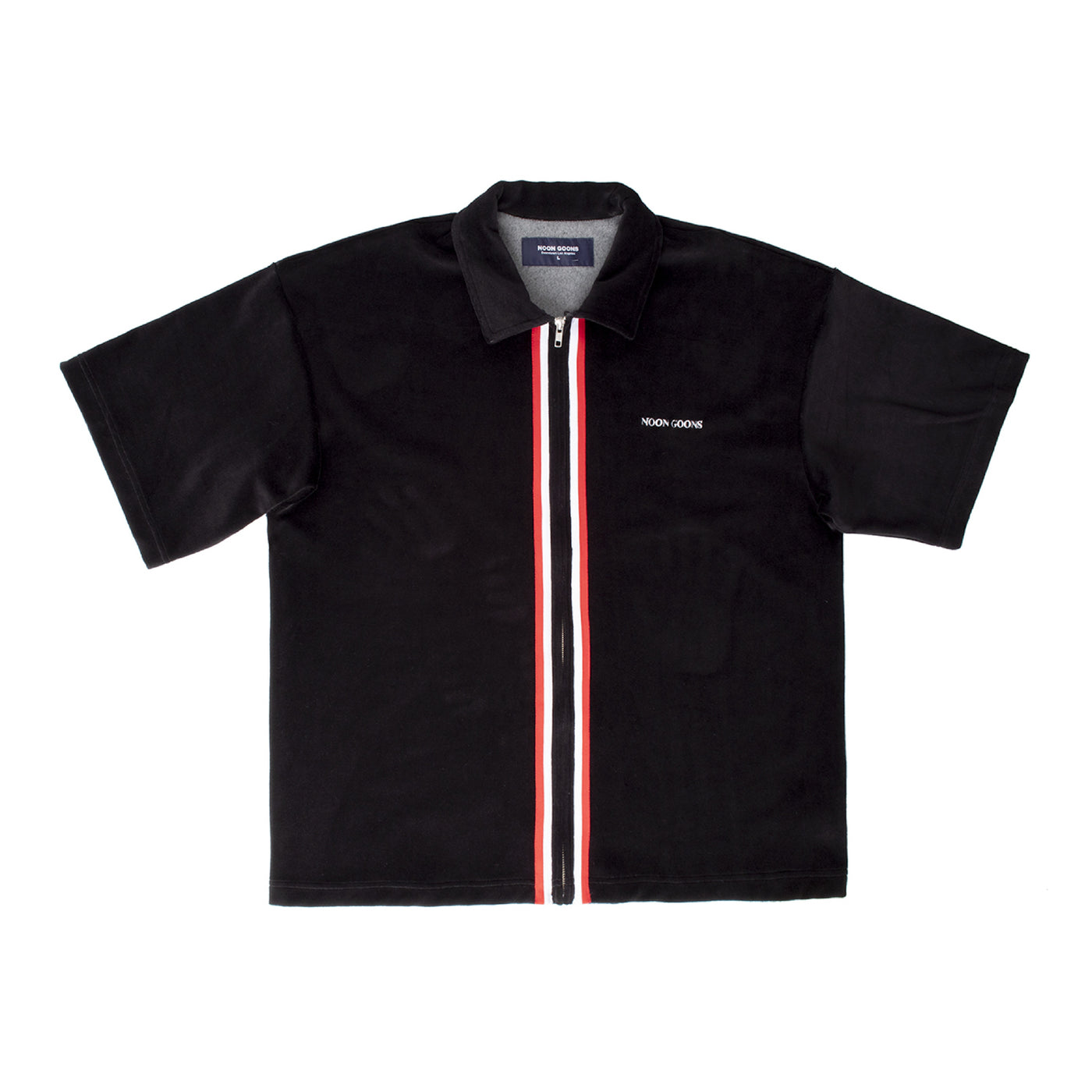 Load image into Gallery viewer, NOON GOONS VELOUR ZIP-FRONT SHIRT BLACK