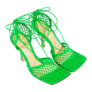 BOTTEGA VENETA STRETCH LEATHER TRIM PUMPS GREEN