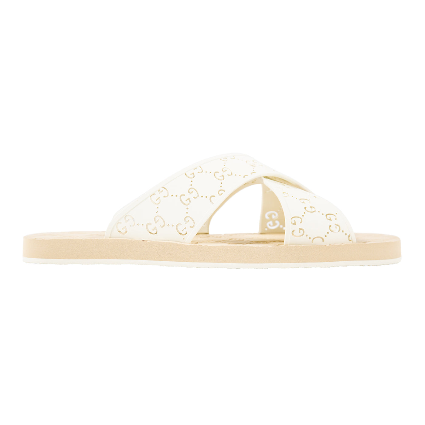 Load image into Gallery viewer, GUCCI PERFORATED RUBBER SANDAL WHITE