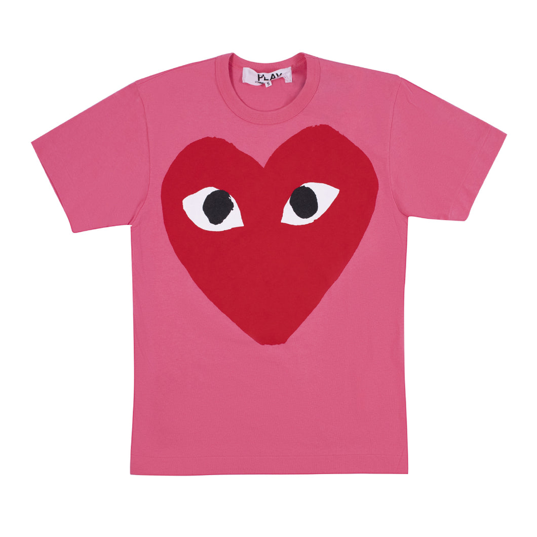 COMME DES GARCONS PLAY T-SHIRT WITH LARGE RED HEART PINK