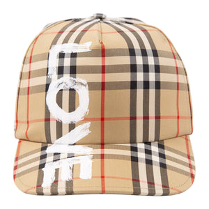 BURBERRY LOVE CHECK BASEBALL CAP NEUTRAL