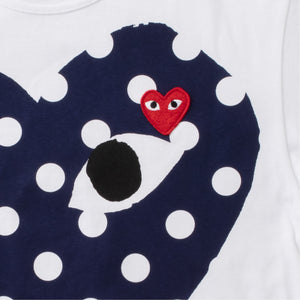 COMME DES GARCONS PLAY POLKA DOT HEART T-SHIRT BLUE