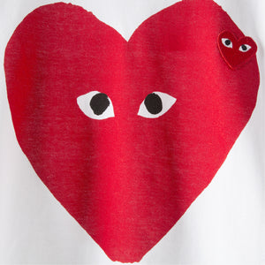COMME DES GARCONS PLAY T-SHIRT WITH RED HEART WHITE