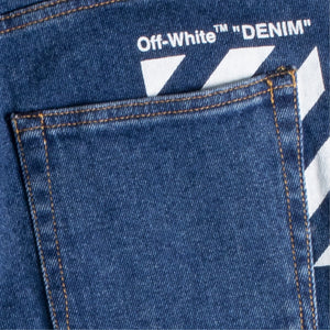 OFF-WHITE DIAGONAL N-ARROW SKINNY JEANS BLUE