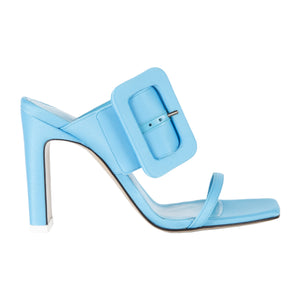 ATTICO HIGH HEEL SATIN MULE WITH BUCKLE STRAP BLUE