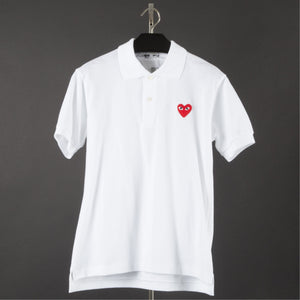 COMME DES GARCONS PLAY POLO SHIRT WITH RED HEART WHITE