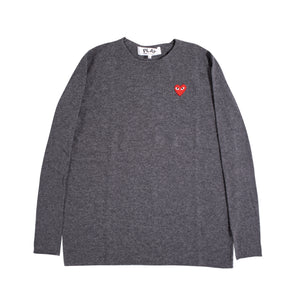 COMME DES GARCONS PLAY L-S W- RED HEART GREY
