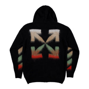 OFF-WHITE BRUSHED ZIP HOODIE BLACK