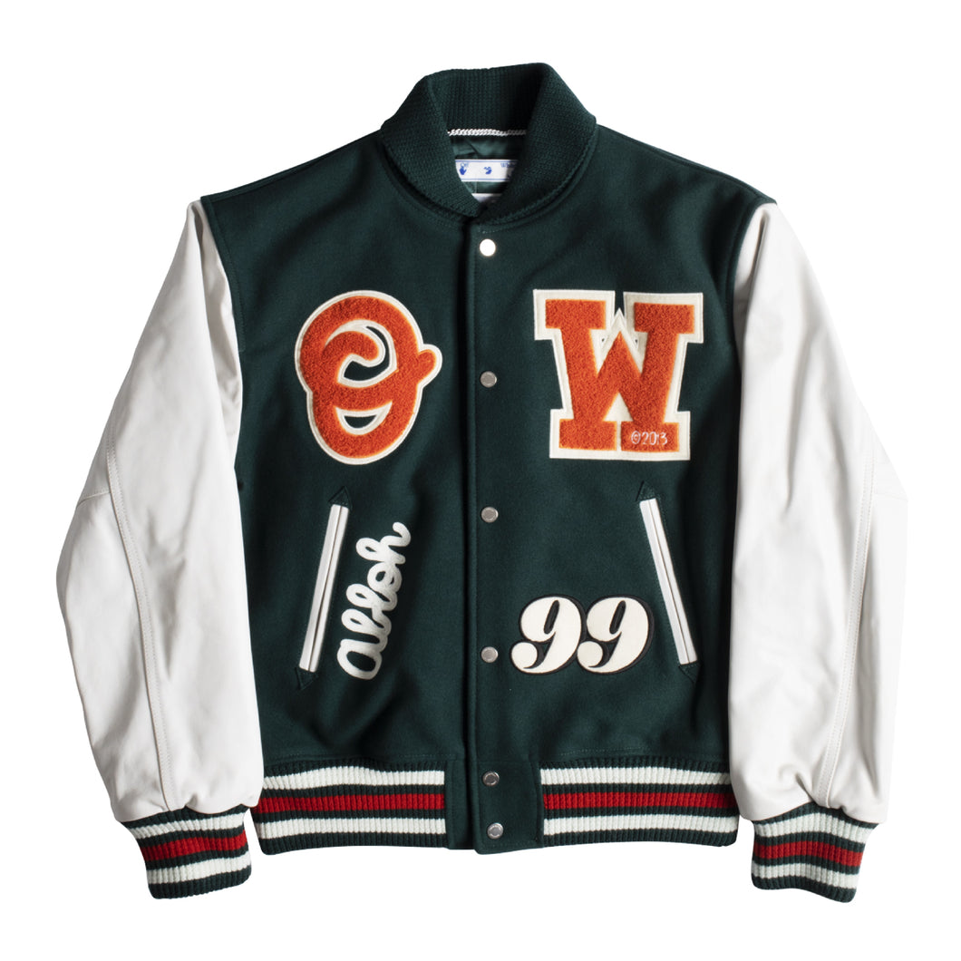 OFF-WHITE BARREL LEATHER VARSITY JACKET GREEN