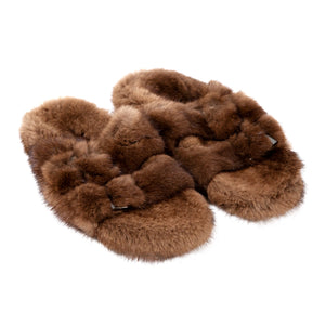 DUCKIE CONFETTI FUR SLIDES BROWN