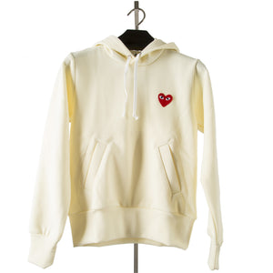 COMME DES GARCONS PLAY HOODED SWEATSHIRT WHITE