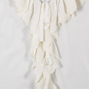 SAINT LAURENT ANGLAISE FRILLED TIE BLOUSE WHITE
