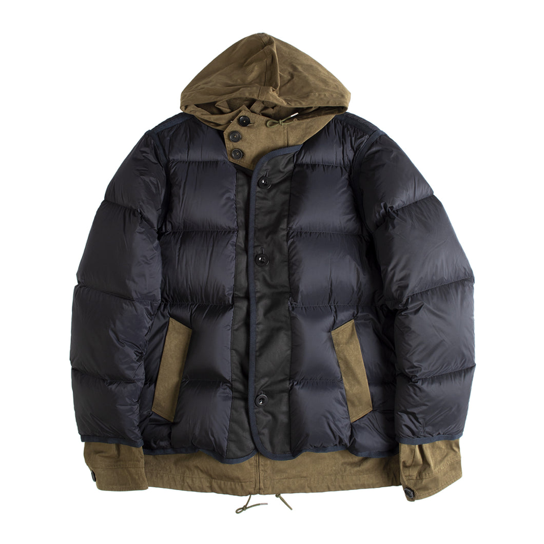 SACAI HOODED PUFFER JACKET NAVY