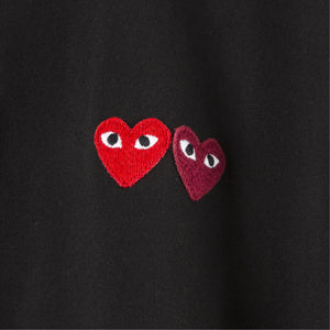 COMME DES GARCONS PLAY T-SHIRT WITH SMALL DOUBLE HEARTS BLACK