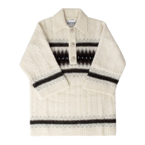 GANNI ALPACA POLO SWEATER WHITE