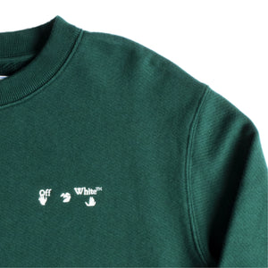 OFF-WHITE LOGO SLIM CREWNECK GREEN