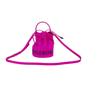 BALENCIAGA MINI DRAWSTING BUCKET BAG PINK