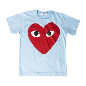 COMME DES GARCONS PLAY T-SHIRT WITH BIG RED HEART BLUE