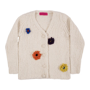 THE ELDER STATESMAN FUZZ CHUNKY CROP CARDIGAN NEUTRAL