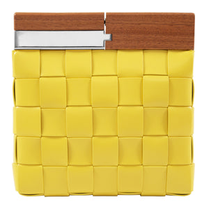 BOTTEGA VENETA WOVEN LEATHER CLUTCH YELLOW