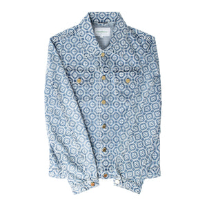 CASABLANCA MEN'S RTW MONOGRAM VINTAGE WASH JACKET BLUE