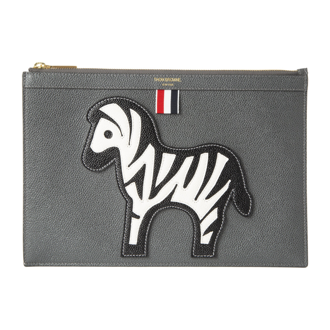 THOM BROWNE PEBBLED LEATHER POUCH GREY